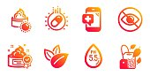 istock Medical phone, Ph neutral and Organic product icons set. Cream, Sun cream and Not looking signs. Vector 1169177707