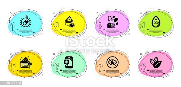 istock Medical phone, Ph neutral and Organic product icons set. Cream, Sun cream and Not looking signs. Vector 1255172425