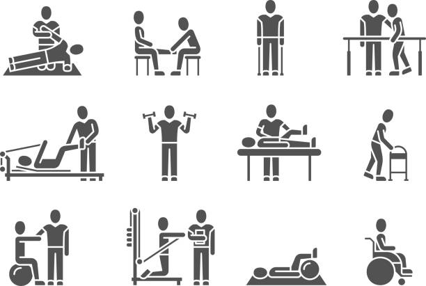 Medical physical therapy and people rehabilitation treatment black silhouette vector icons Medical physical therapy and people rehabilitation treatment black silhouette vector icons. Therapeutic and physiotherapy, recuperation and rehabilitation illustration physical therapy stock illustrations