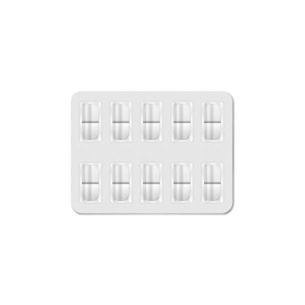 stockillustraties, clipart, cartoons en iconen met medische pil blister pakket. 10 medicijn tabletten per pakje - doordrukstrip