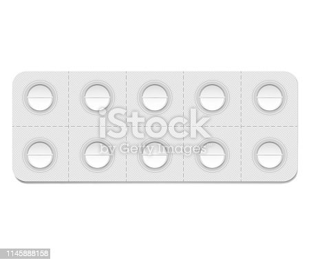 Medical pill blister package with individual detachable cells, realistic mockup. 10 blank medicine tablets per pack, vector template.