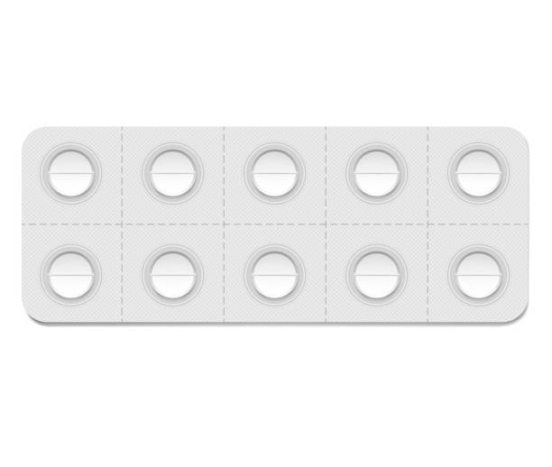 Medical pill blister package with individual detachable cells, realistic mockup. 10 blank medicine tablets per pack, vector template Medical pill blister package with individual detachable cells, realistic mockup. 10 blank medicine tablets per pack, vector template. pill container stock illustrations