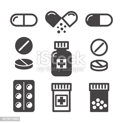Medical pills and bottles icons set