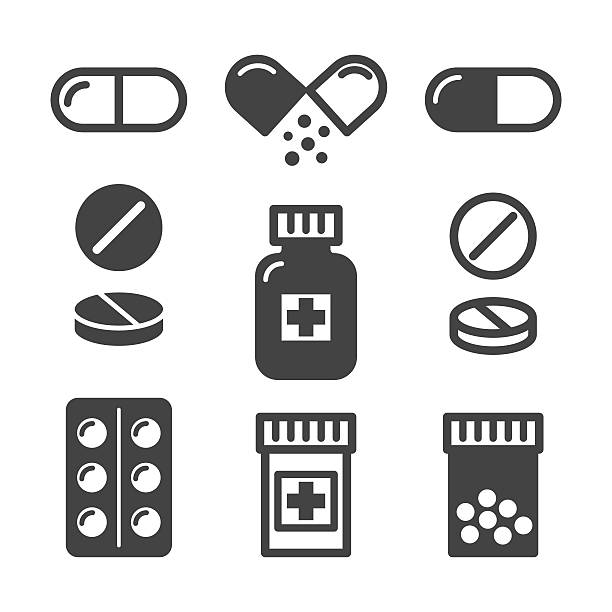 Medical pills and bottles icons set Medical pills and bottles icons set cure stock illustrations