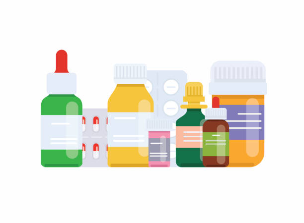 illustrazioni stock, clip art, cartoni animati e icone di tendenza di medical pills and bottles. medical concept. flat design style modern vector illustration concept. - farmaco