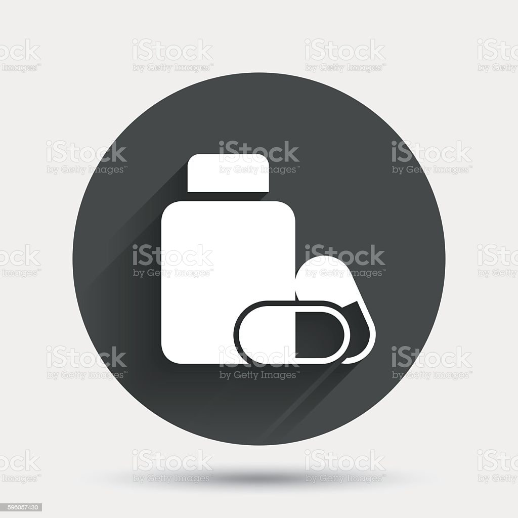 Medical pills bottle sign icon. Drugs symbol. royalty-free medical pills bottle sign icon drugs symbol stock vector art & more images of badge
