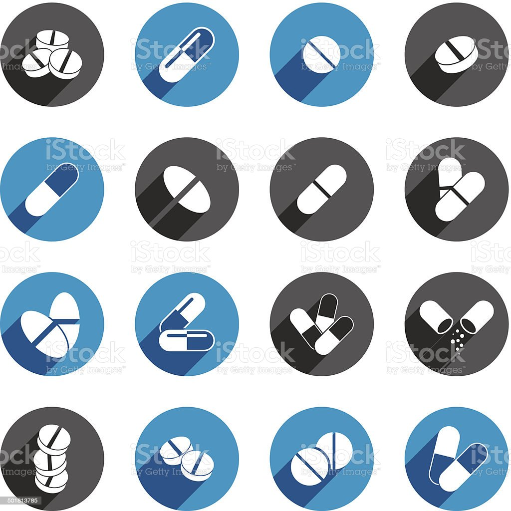 Medical pills icons set, vector collection. royalty-free stock vector art