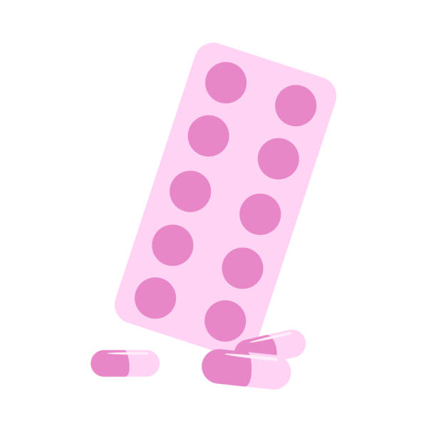 stockillustraties, clipart, cartoons en iconen met medische pillen pillen blisterverpakking. pijnstillers plat ontwerp pictogram. kleurrijke platte vector illustratie. geïsoleerd op witte achtergrond. - doordrukstrip