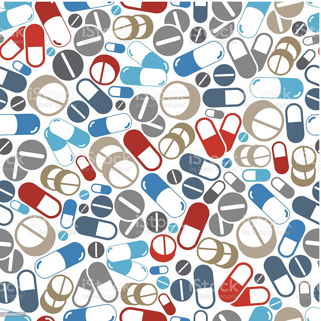 Medical pills seamless background. vector art illustration