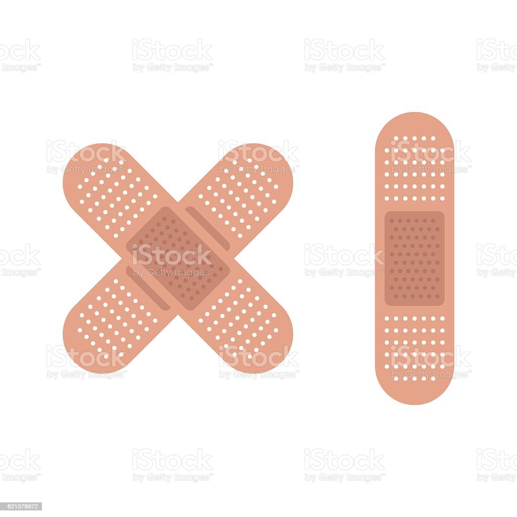 Medical plaster for first help isolated on white. vector art illustration