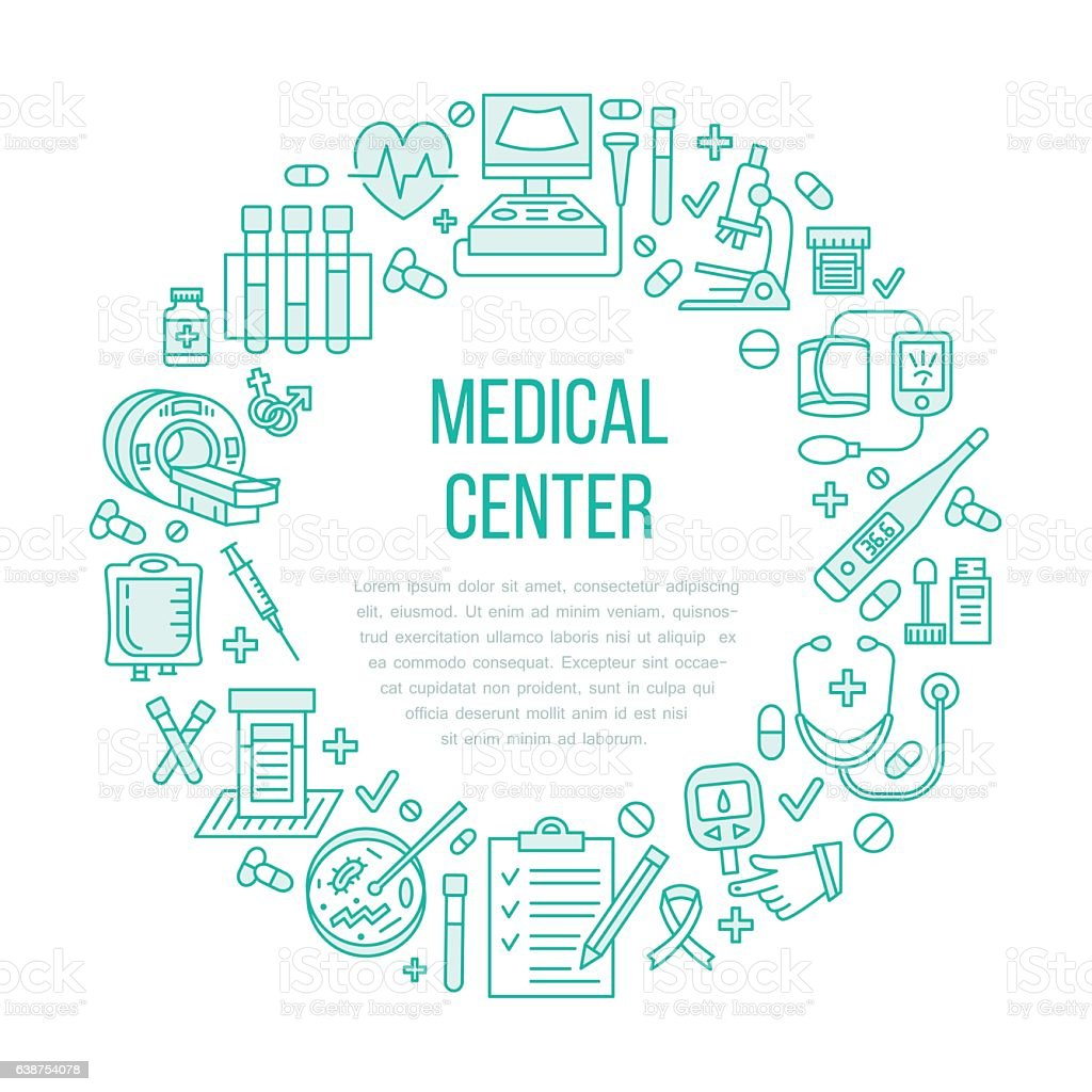 Medical poster template. Vector line icon, illustration of health check vector art illustration