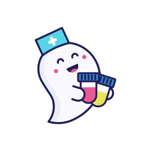 medizinisches poster mit einem süßen und freundlichen geist in einer arztmütze für halloween. der geist hält fläschchen mit blut- und urinproben. vektor-illustration. flaches design - mutterschaftshalloween stock-grafiken, -clipart, -cartoons und -symbole