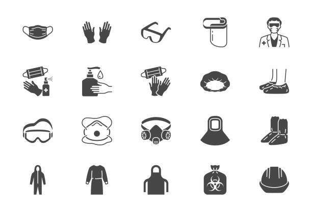 Medical PPE flat icons. Vector illustration included icon as face mask, gloves, doctor gown, hair cover, biohazard waste, respirator N95, shield black silhouette pictogram of protective wear Medical PPE flat icons. Vector illustration included icon as face mask, gloves, doctor gown, hair cover, biohazard waste, respirator N95, shield black silhouette pictogram of protective wear. surgical cap stock illustrations