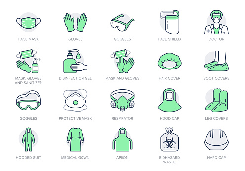 Medical PPE line icons. Vector illustration included icon as face mask, gloves, doctor gown, hair cover, biohazard waste, outline pictogram of protective equipment. Editable Stroke, Green Color
