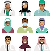Medical practitioner and nurse face icons isolated on white. Healthcare occupations with black and arab professional people vector