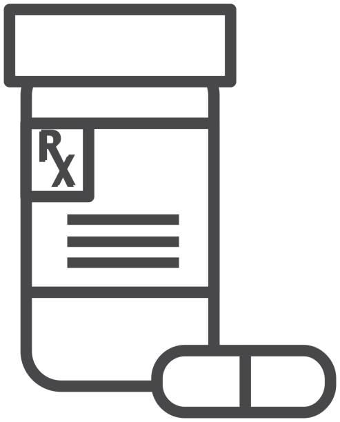 Medical prescription bottle with pill Flat Design Icon Set - Illustration vector art illustration