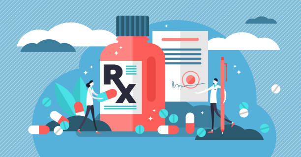 illustrazioni stock, clip art, cartoni animati e icone di tendenza di rx medical prescription drug vector illustration. flat mini persons concept - antidolorifico