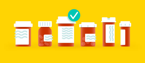 illustrazioni stock, clip art, cartoni animati e icone di tendenza di medical prescription drugs - farmaco