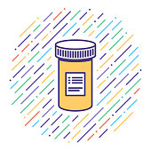 istock Medical Prescription Flat Line Icon Illustration 1125013753