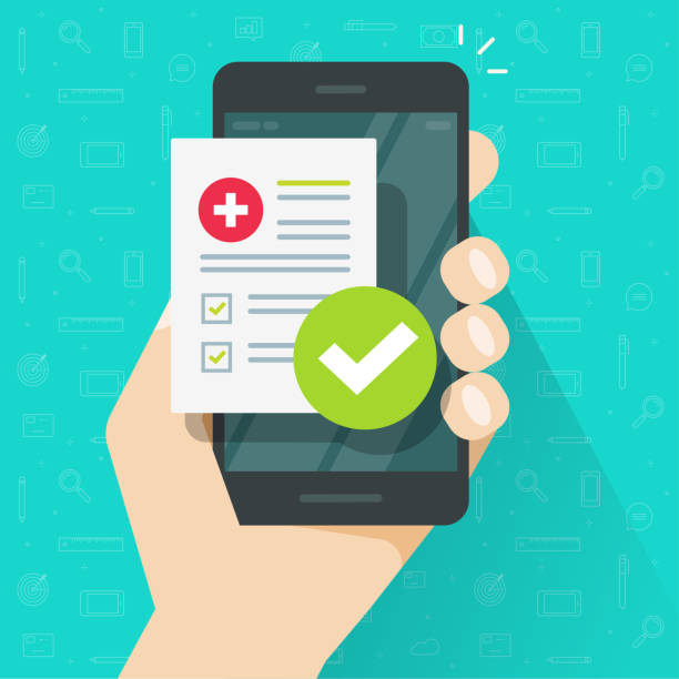 Medical prescription online or digital medicine test results with approved check mark form on person hand mobile phone vector illustration flat cartoon modern, cellphone with clinic checklist vector art illustration