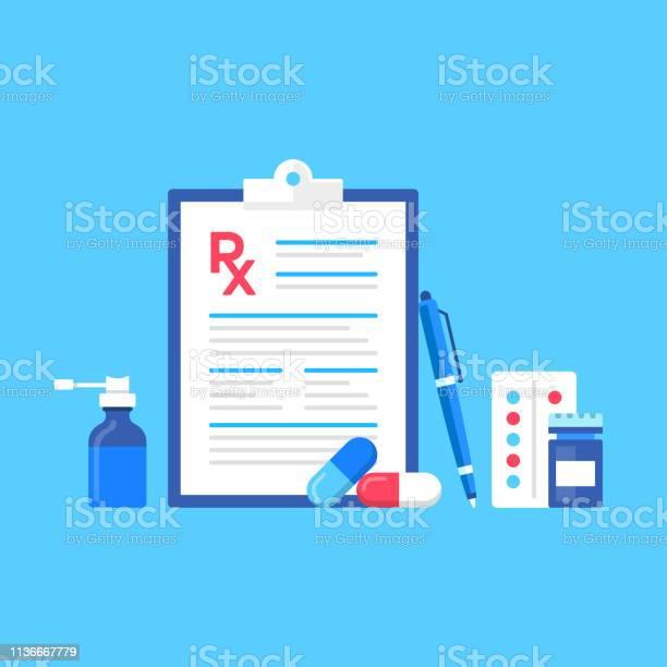 Medical Prescription Vector Illustration Rx Concepts Modern Flat Design Clipboard With Prescription Form Pen Drugs Bottle Of Pills Nasal Spray - Arte vetorial de stock e mais imagens de Branco