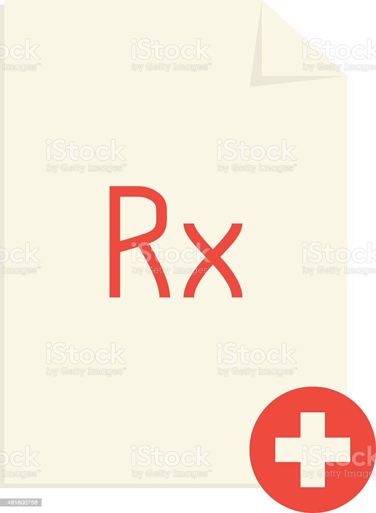 Medical Prescription With Red Rx Symbol And Cross Stock Vector Art