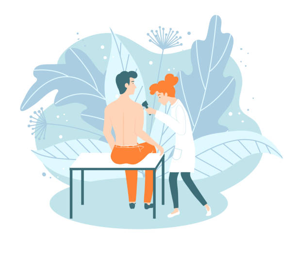 Medical procedure dermatoscopy. A dermatologist examines a patients skin. Medical procedure dermatoscopy. A dermatologist examines a patients skin. Dermatological consultation with a doctor dermatologist stock illustrations