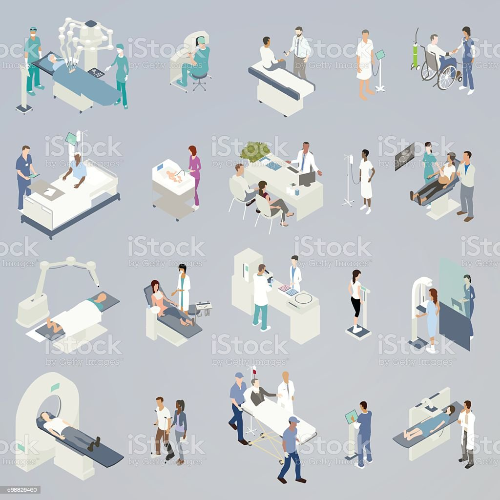 Medical Procedures Illustration 20 spot illustrations of medical procedures and related icons, presented in isometric view and in a flat, consistent color palette. Includes: robot-assisted surgery, medical consultations, checking blood pressure, attending to a newborn, sonogram, non-invasive radiation treatment, dental visit, blood or pharmaceutical lab analysis, weight scale during checkup, mammogram, MRI/CT scan/Pet scan, physical therapy, an injured man with neck brace in gurney with paramedics, and a woman receiving an x-ray. Accidents and Disasters stock vector