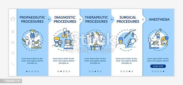 istock Medical procedures types onboarding vector template 1288685787
