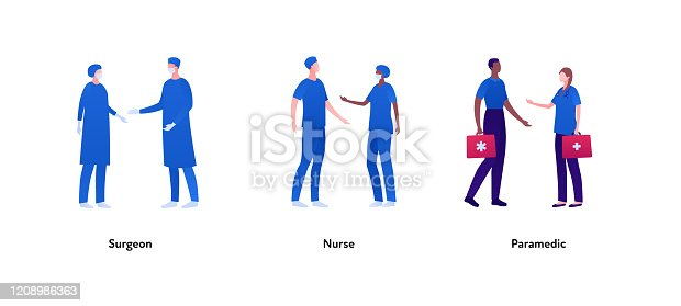 istock Medical profession people set. Vector flat person illustration. Group of male and female surgeons in mask, nurse and paramedic with first aid kit. Design element for banner, poster, background, print. 1208986363