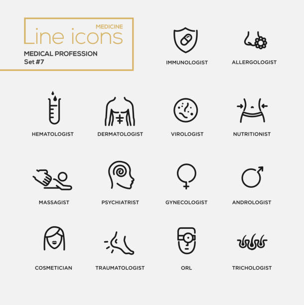 Medical profession simple thin line design icons, pictograms set Medical profession simple thin line design icons, pictograms set. Immunologist, dermatologist immunology stock illustrations