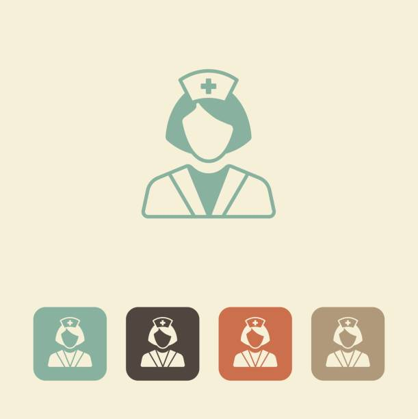 medical professional. nurse vector icon - nurse stock illustrations, clip art, cartoons, & icons