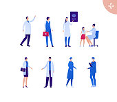 Medical professional people team concept. Vector flat person illustration set. Asian ethnicity. Group of male and female doctor in coat, mask and glove. Design for banner, web, infographic