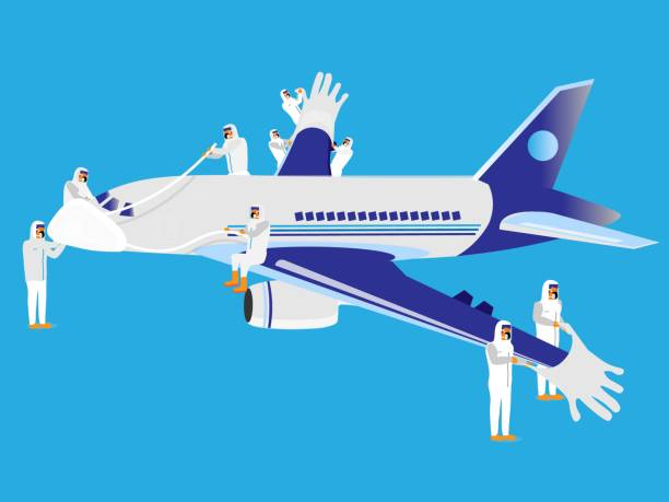 ilustrações de stock, clip art, desenhos animados e ícones de medical professionals fit protective gloves and mask onto a commercial airplane to protect it from virus. - covid flight