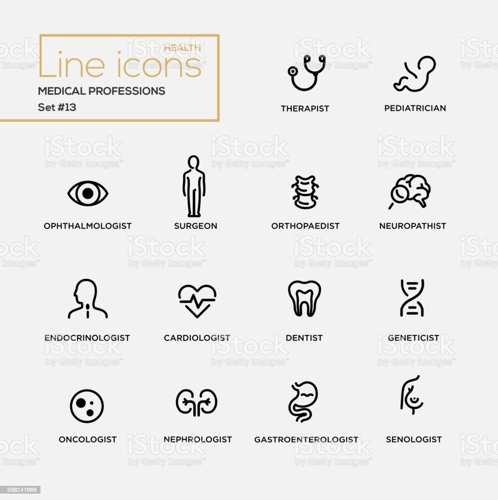 Medical Professions - line design pictograms set ベクターアートイラスト