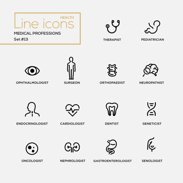 ilustraciones, imágenes clip art, dibujos animados e iconos de stock de medical professions - line design pictograms set - pediatra