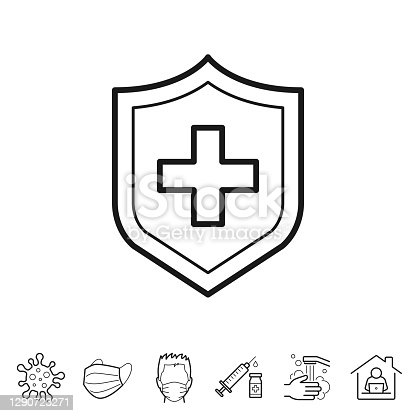 Medical protection shield. Trendy icon isolated on white and blank background for your design. Includes 6 popular icons: - Coronavirus cell (COVID-19), - Medical or surgical face mask, - Man in medical face protection mask, - Vaccination - Syringe and vaccine vial, - Washing hands with soap and water, - Work from home. Vector Illustration (EPS10, well layered and grouped), easy to edit, manipulate, resize or colorize. And Jpeg file of different sizes.