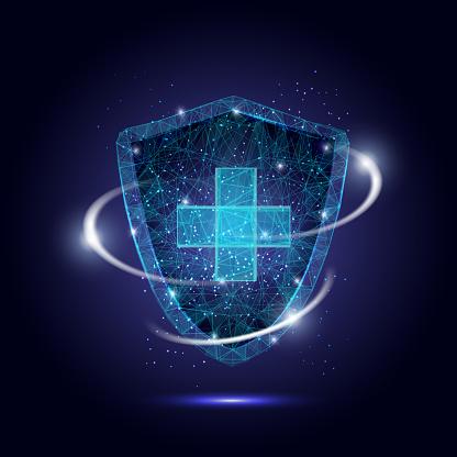 Medical protection shield, vector polygonal art style illustration