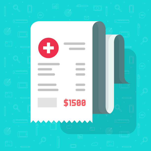 Medical receipt or bill vector illustration, flat cartoon paper medicine or pharmacy cheque, idea of invoice or health care expenses image Medical receipt or bill vector illustration, flat cartoon paper medicine or pharmacy cheque, idea of invoice or health care expenses receipt stock illustrations