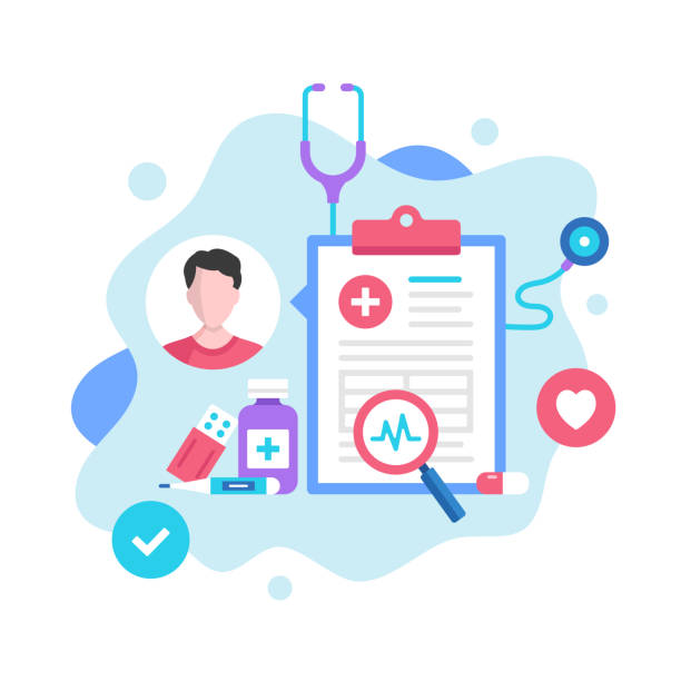 illustrazioni stock, clip art, cartoni animati e icone di tendenza di medical record concept. vector illustration. medical diagnosis, medical history, patient card. modern flat design graphic elements for websites, web pages, templates, infographics, web banners, etc. - paziente