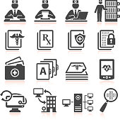 Modern Medical Records black & white icon set
