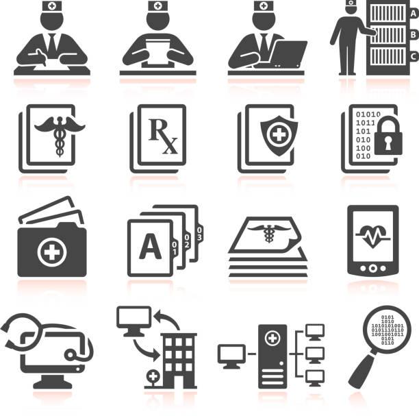 illustrazioni stock, clip art, cartoni animati e icone di tendenza di documentazione medica & bianco e nero icona set vettoriale royalty-free - scheda clinica