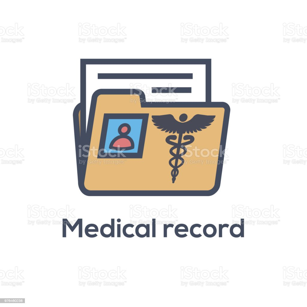 Medical Records Icon - Caduceus and personal health record imagery -...