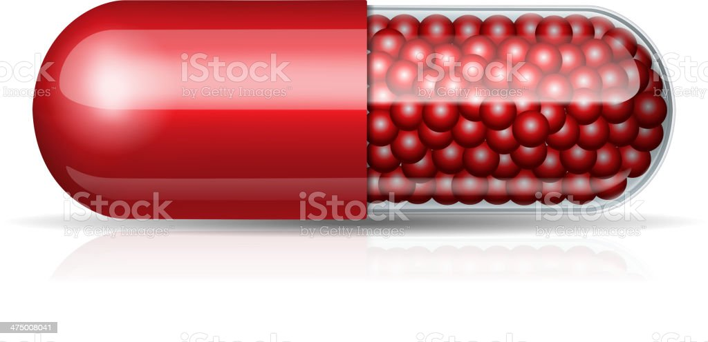 Medical red capsule with granules vector art illustration