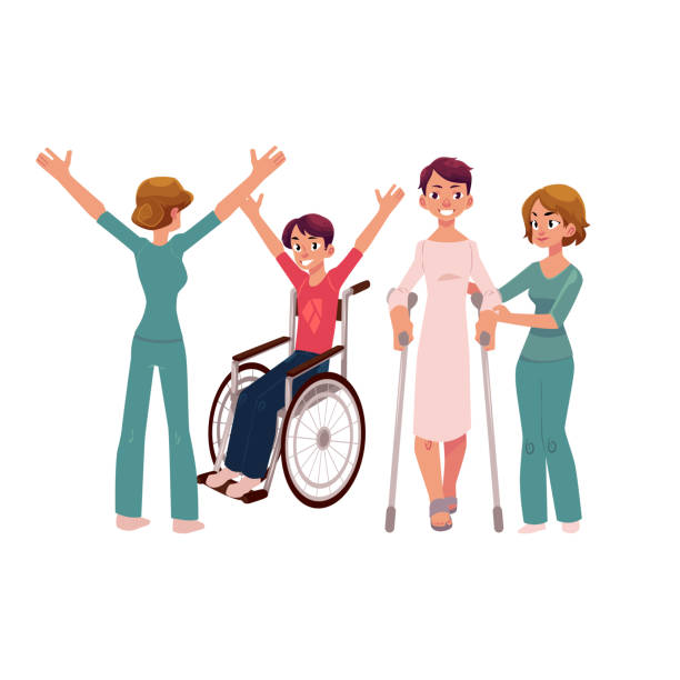 ilustraciones, imágenes clip art, dibujos animados e iconos de stock de silla de ruedas, crujidos y rehabilitación médica - medicina del deporte