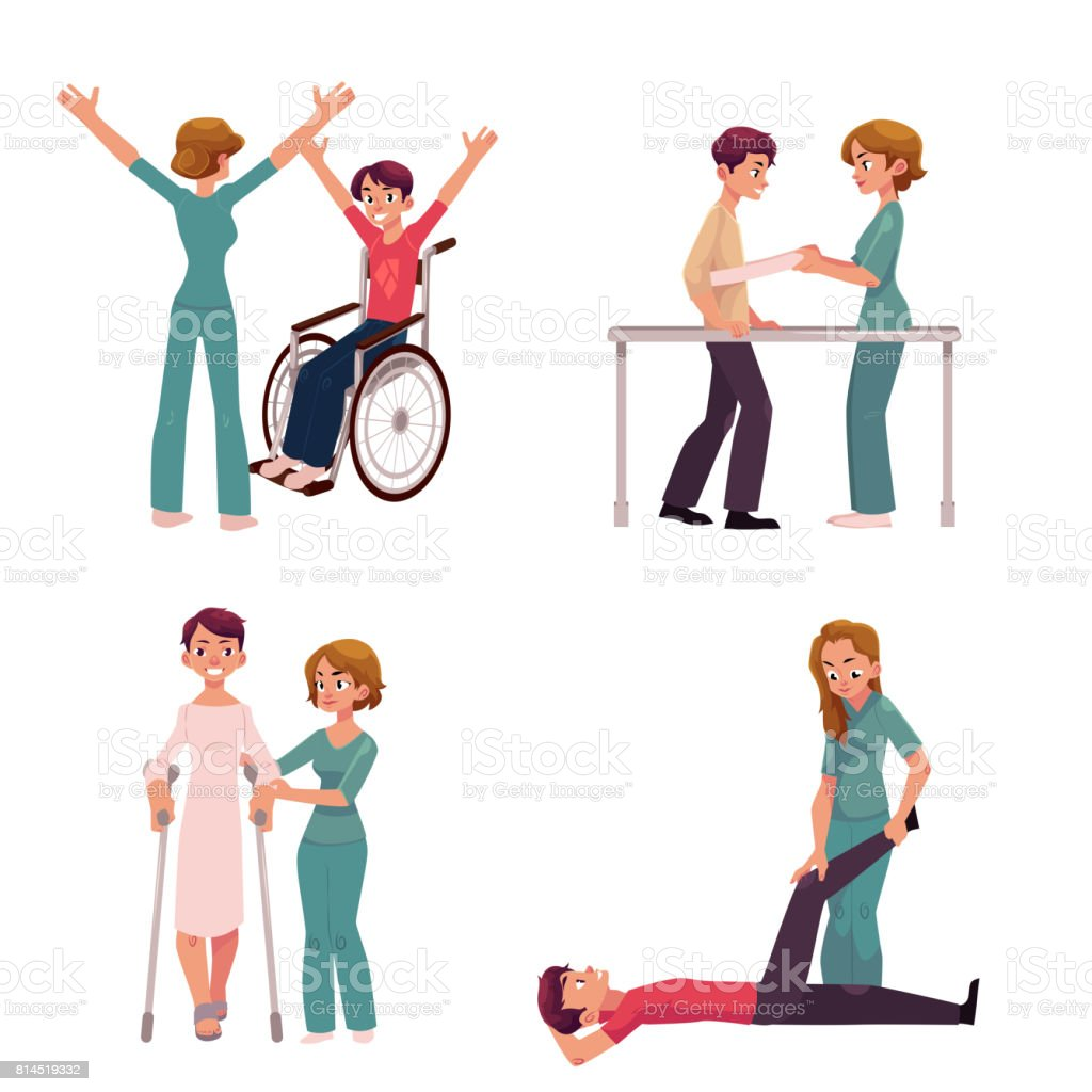 Medical rehabilitation, physical therapy activities, physiotherapist working with patients vector art illustration