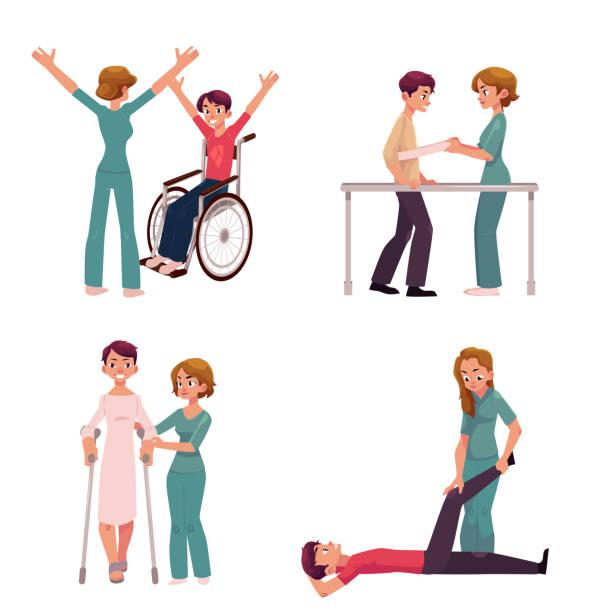 illustrazioni stock, clip art, cartoni animati e icone di tendenza di medical rehabilitation, physical therapy activities, physiotherapist working with patients - fisioterapia