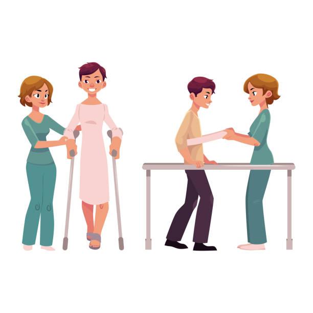 ilustraciones, imágenes clip art, dibujos animados e iconos de stock de rehabilitación médica, reaprendiendo a caminar - medicina del deporte