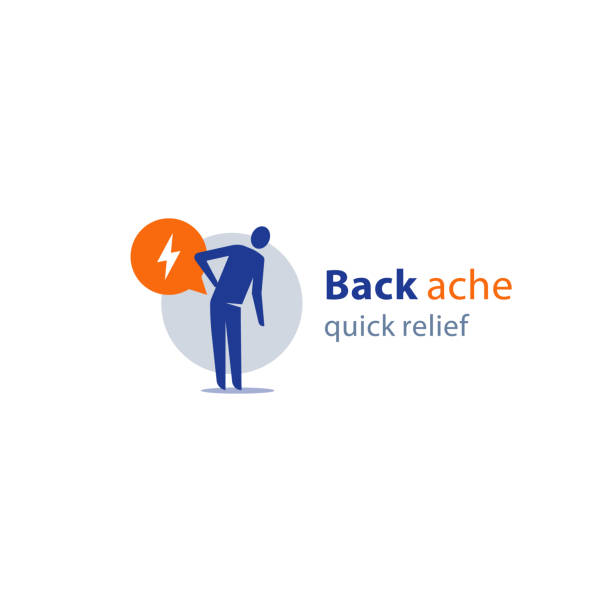 Medical remedy, back ache quick relief, feeling pain, painful symptom, health problem, vector icon Back ache quick relief, radiculitis concept, medical remedy, feeling pain, painful symptom, health problem, vector icon sciatica stock illustrations