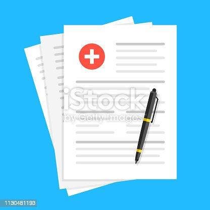 istock Medical report, medical document, health insurance concepts. Flat design. Vector illustration 1130481193